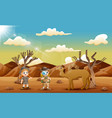 the explorer kids with a camel in the desert vector image vector image