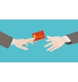 Transfer of the red credit card from hand to hand vector image