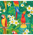 Tropical Flowers and Birds Background vector image vector image