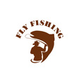 Trout Fly Fishing Isolated Retro vector image vector image
