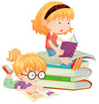 two children reading books in school vector image vector image
