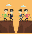 two groups of business people pulling rope vector image vector image