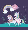 unicorns animal rainbow hair planet on grass vector image vector image