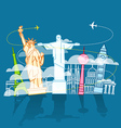 Vacation travelling composition with different vector image vector image