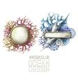 Watercolor metal plates with ocean design vector image vector image