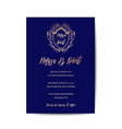 wedding monogram vintage invitation card vector image vector image