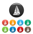 yacht modern icons set color vector image