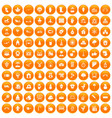 100 kindergarten icons set orange vector image vector image