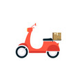 a bright delivery scooter a sign and a vehicle vector image