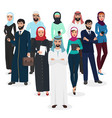 arab muslim business people teamwork arabic vector image vector image