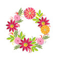 beautiful flowers wreath isolated on white vector image