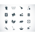 Black cleaning icons set