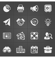 Business and finance icons on black set 1 vector image vector image