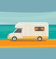 camping on tropical beach summer travel camper vector image