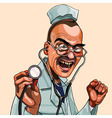 cartoon mad doctor with stethoscope vector image