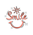 cartoon smile text icon in comic style hand drawn vector image