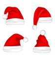 christmas santa claus hats set new year red hat vector image