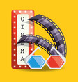 cinema with filmstrip and 3d glasses design vector image vector image