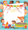 design template of kids party invitation vector image vector image