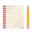 diary with spiral or page of copybook and pencil vector image vector image