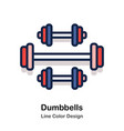 dumbbells line color vector image