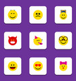flat icon face set of pleasant caress laugh and vector image vector image