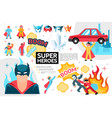 flat superheroes infographic concept vector image vector image