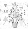 hand drawing cactus on grunge triangle backgound vector image