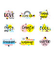 hand drawn phrases collection memphis style vector image vector image