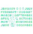 handwritten names of months cute doodle set vector image vector image