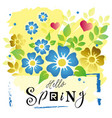 hello spring in black on background with flowers vector image