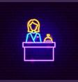 hotel reception neon sign vector image