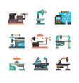 industrial cnc machine tools and automated vector image vector image