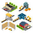 isometric industrial factory buildings vector image