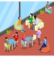 Isometric Interior Office Canteen with People vector image