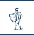 man in business suit shield security and vector image vector image