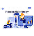 marketing strategy flat landing page vector image vector image