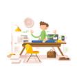 meditation businessman in office vector image