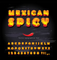 mexican spicy cartoon font hot chili pepper burn vector image