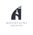 mountain absinthe concept with bottle in letter a vector image