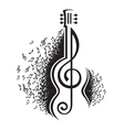 Musical notes and guitar vector image