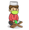 muslim boy use red dress traditional vector image vector image