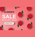 paper art of summer sale banner with red apple up vector image