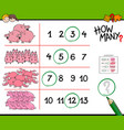 pigs counting game cartoon vector image vector image