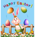 Poster design with easter bunny juggling eggs vector image vector image