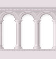 realistic antique white columns composition vector image