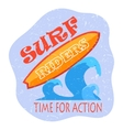 retro surfing typographical poster with place vector image vector image