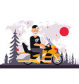 round world trip motorcycle old man character vector image vector image