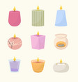 scented candles set wax red relaxation vector image