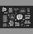 set elegant valentine s day letterings vector image
